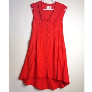 Anthropologie postage stamp high low red dress